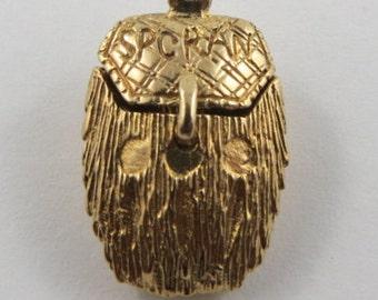 Sporran With Thistle Inside Mechanical 9K Gold Vintage Charm For Bracelet