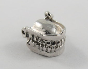 Dentures Mechanical Sterling Silver Vintage Charm For Bracelet