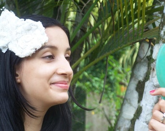 Cottage Chic Flower bridal hair accessory, white wedding hair clip