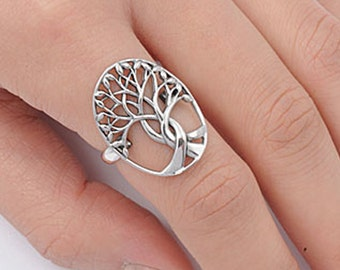 Sterling Silver Tree of Life Ring, 925 Sterling silver Large 22MM money fortune tree of life ring sizes 4-12