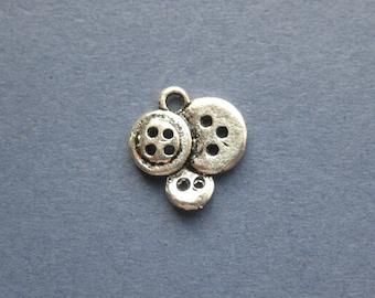10 Button Charms - Button Pendants - Buttons - Antique Silver - 15mm x 14mm --(P5-10768)