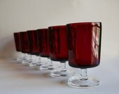 Vintage Luminarc Acroroc French Cordials, Ruby Red Cavalier Goblets with Clear Stems - Set of 6 - Beautiful Glassware, Epsteam