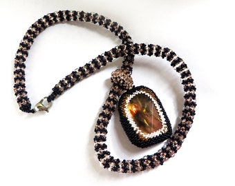 Gemstone necklaces African jewelry necklace Large pendant collier Beaded bijoux