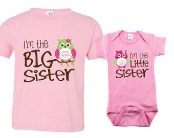 Big Sister Little Sister Shirt set of 2, Sibling Shirts, Owl I'm the Big Sister, Owl I'm the Little Sister, MKOSib
