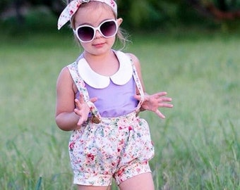 Girls Sparrow Suspender Shorts Outfit