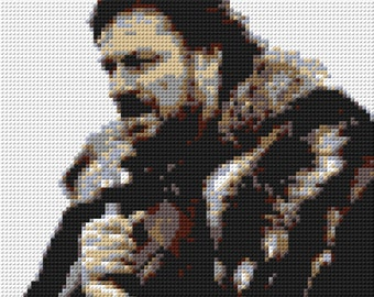 Ned Stark Game of Thrones LEGO Mosaic - 30 in x 30 in