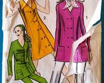 """Vintage dress tunic trouser suit sewing pattern - Maudella 5645 - plus size 18 (40"""" bust, 43"""" hip) - 1970's"""