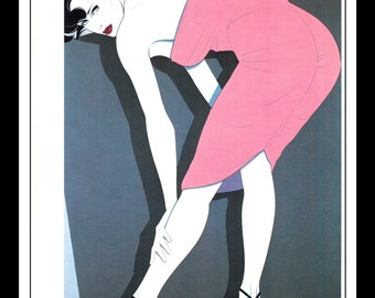 """Patrick Nagel Vintage Pinup Illustration Sexy Nude Pinup Mature Wall Art Deco Book Print 9"""" x 12"""" Double Sided"""
