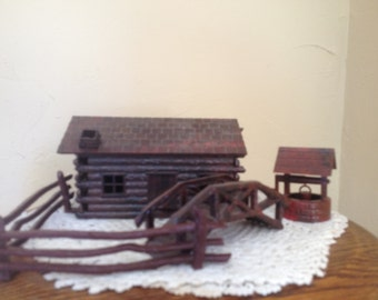 Wonderful vintage Bachman Bros. Plasticville USA  Log Cabin & Rustic Fence with Wishing Well and Bridge