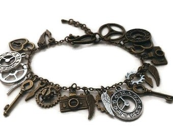Steampunk Charm Bracelet / Bronze and Silver / Gift for Her