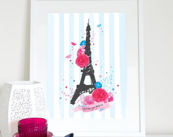 Love you forever Paris, Eiffel tower and roses print, Paris print, Eiffel tower poster, charity poster, France, French print