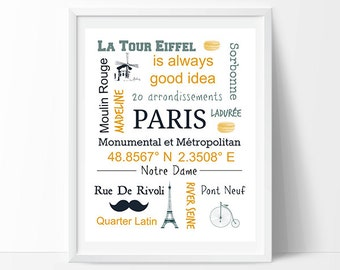 Paris Print, Paris Printable Wall Art, Paris Poster, Paris Typography Print,  Paris Decor, Instant Download Art, Paris Is Always Good Idea