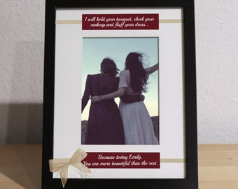 Gift for Bride from Maid of Honor, Bride Gift from Matron of Honor, Custom Frame, Personalized Frame, From Mother of the Bride, Bridesmaids
