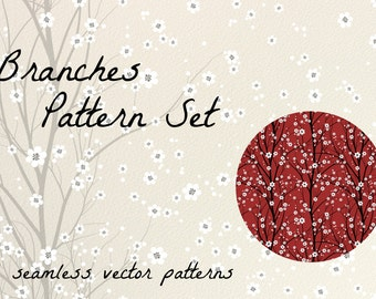 Branches seamless patterns - Instant download / 3 different patterns with branches, flowers and birds
