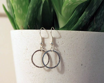 Geometric Silver Circle Earrings Dangle Earrings