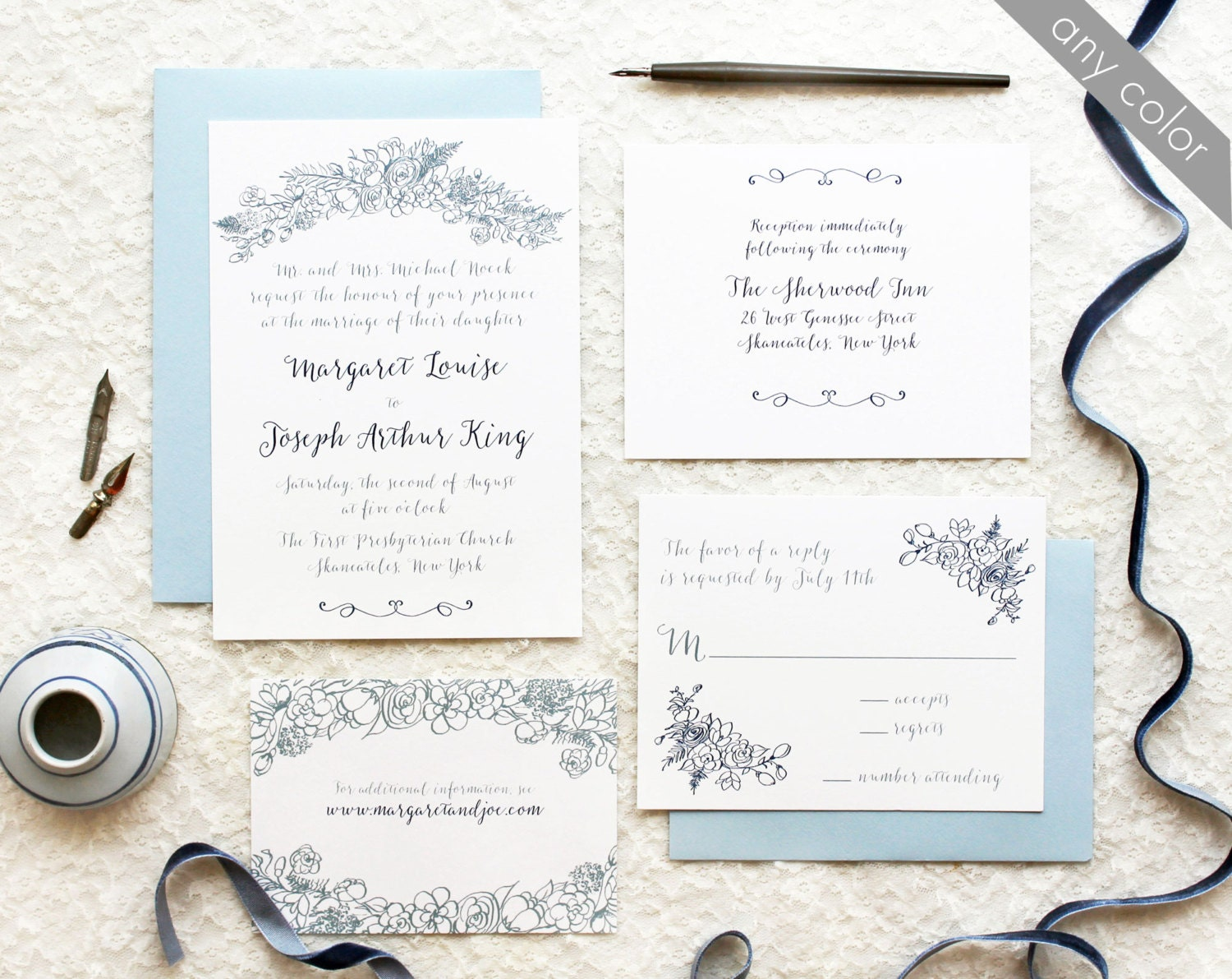 Blue Calligraphy Wedding Invitation With Hand Drawn Florals