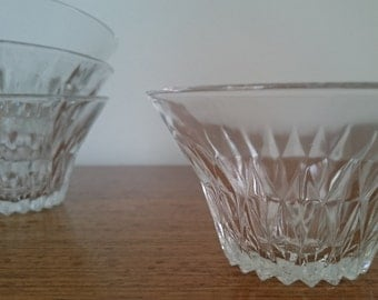 French vintage Duralex glass dessert bowls, set of 4