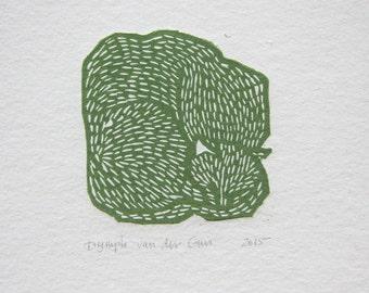 Cat linoprint green