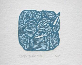 Fox linoprint, red or blue