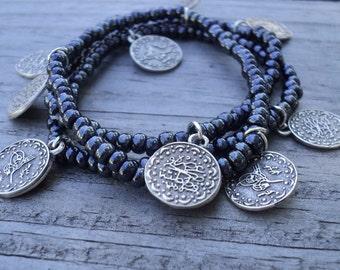 Shimmering Gray Tughra Coin Bracelets