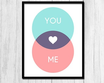 "Romantic Print ""You and Me"" Venn Diagram Digital Download Couples Gift Couples Art Anniversary Print Couples Print Gift for Mathematician"