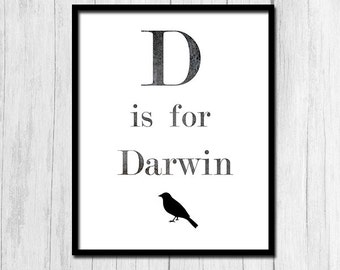 "Biology Printables ""D is for Darwin"" Biology Teacher Gift Biology Print Biology Poster Quote Posters Digital Download Printable Art"