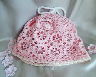 Lacy Crochet Baby or Toddler Girl Sun Hat.