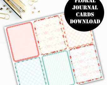 Floral Print Journaling Card Printable / Journal Cards / Scrapbook Kit / Journaling List / Listers Gotta List / Instant Download 00080