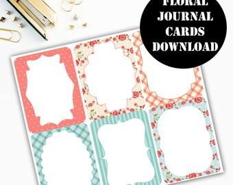 Floral Print Journaling Card Printable / Journal Cards / Scrapbook Kit / Journaling List / Listers Gotta List / Instant Download 00083