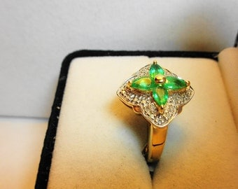 Emerald Ring 14kt.  Pear Shaped Emeralds in 14kt. gold cocktail ring.