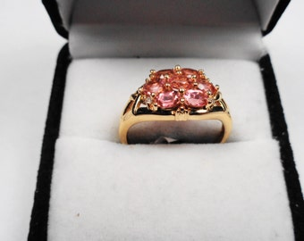 Toumaline Ring.  Natural Pink Tourmalines 14 kt. Gold Ring.