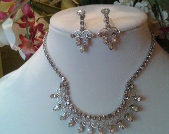 Vintage 1950's rhinestone necklace and earring jewelry set.
