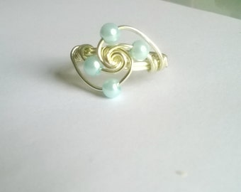 Pearl beaded swirl wire ring