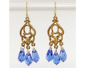 Vermeil, Gold-Filled & Sapphire Swarovski Crystal Chandelier Earrings