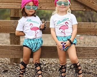 Bestie Tshirt kids set, Flamingo besties, Flamingo heart, Best friends forever, BFF, Best friend thsirt, best friends, twins shirts, twins