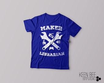 Maker Librarian in Blue- Super-Soft, Vintage-Feel Tshirt | Makerspace | Library | Makered