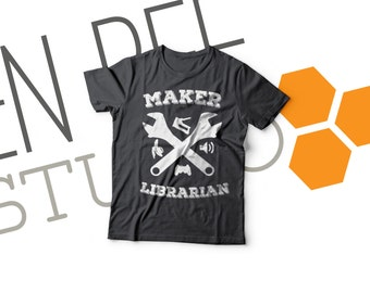 Maker Librarian in Charcoal-- Super-Soft, Vintage-Feel Tshirt | Makerspaces | Library | Makered