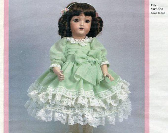 "FREE usa SHIP Byron Doll Pattern 1980's BY-263  Heinrich Handwerck Glenda 14"" Dress New Old Store Stock Sewing Pattern"