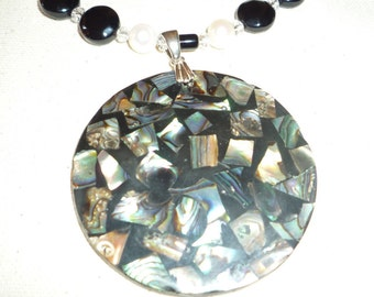 Abalone Shell Pendant Necklace WIth Fresh Water Pearls, Onyx and Abalone