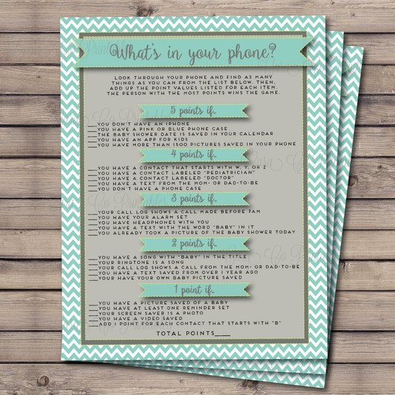 what 39 s in your phone baby shower game teal gray and lime green 8 5