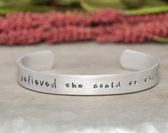She believed she could so she did hand stamped bracelet, custom stamped bracelet