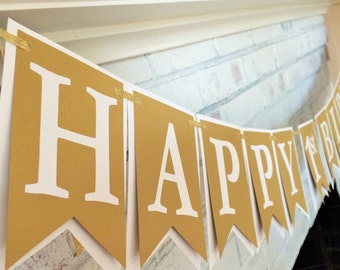 White and Gold Shimmer Banner - Customize to your needs - Happy 1st Birthday - Happy Birthday - Party Decor - Up to 15 pcs