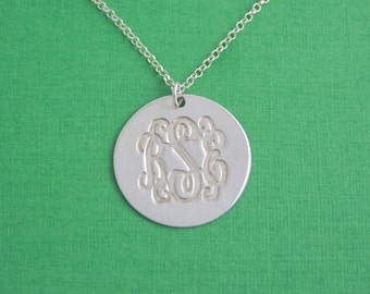 Monogram Necklace Disk Pendant - Sterling Silver / Name Necklace / Silver Monogram Necklace / Graduation Jewerly / Monogrammed Necklace