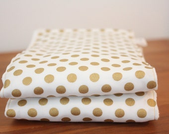 Free Shipping Spring / Gold polka dot Burp cloth / burp cloths / gold polka dot / baby girl / baby shower gift/ baby gift / polka dot / baby