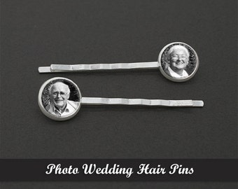 Custom Made With Your Photo Set of Two Silver Wedding Hair Pins Bobby Pins