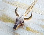 Longhorn necklace, Animal skull necklace, Cattle necklace, Resin skull, Gold plated, Statement necklace, Animal necklace, Boho jewelry