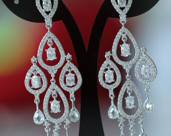 Bridal Earrings, Swarovski Crystal Earrings, Wedding Earrings, Chandelier Earrings, Statment Earrings, ,925 Sterling Silver , Bridal Jewelry