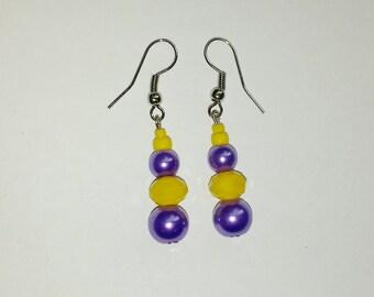 Purple & Yellow Beaded Earrings