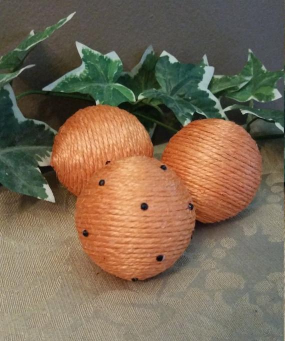 Black Decorative Balls For Bowls: Orange Jute Wrapped Decorative Vase Fillers With Black