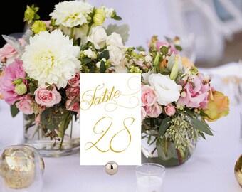 Elegant Table Numbers Printable, Wedding Table Numbers, White and Gold Wedding Table Numbers